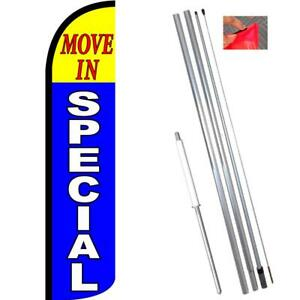 Move In Special Windless Feather Flag Kit Bundle flag Pole Ground Mount