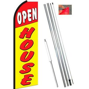 Open House Flutter Feather Flag Kit Bundle flag Pole Ground Mount