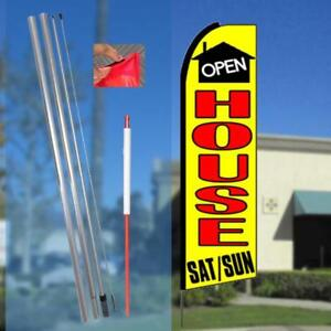 Open House Sat sun Flutter Feather Flag Kit Bundle flag Pole