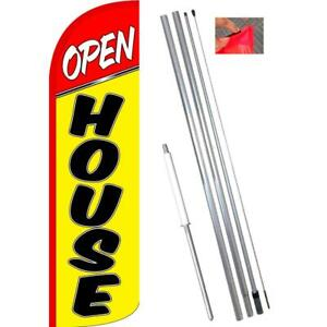 Open House Windless Polyknit Feather Flag With Bundle Option 3 X 11 5 Feet