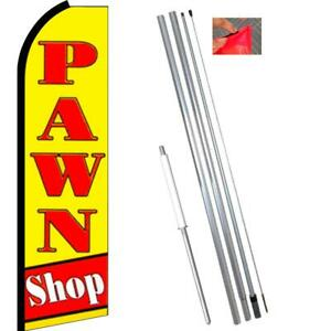 Pawn Shop Flutter Feather Banner Flag With Bundle Option 3 X 11 5 Feet