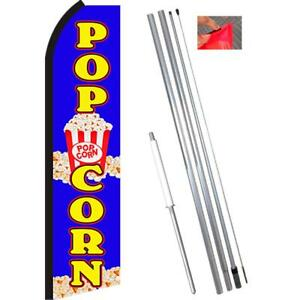 Popcorn Flutter Feather Flag Kit Bundle flag Pole Ground Mount