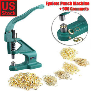 Hand Press Grommet Eyelet Punch Machine With 900pcs Grommets Kit Us