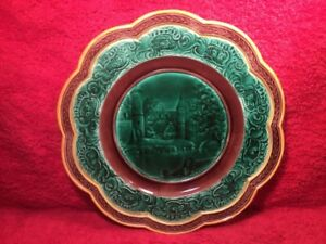 Plate Antique Wedgwood Victorian Majolica Castle Scenic Plate C 1800 S Em208