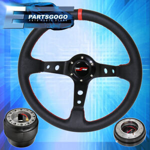Deep Dish Black Steering Wheel Slim Quick Release Adapter For 92 95 Civic