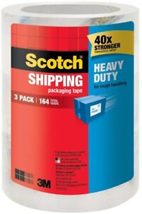 3m Scotch Shipping Packing Clear Tape 1 88 In X 54 6 Yds 3 pack Case Of 8
