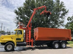 1999 Volvo Wg64 Lightning Loader Grapple Boom Roll Off Hoist With 2 Roll Off Can