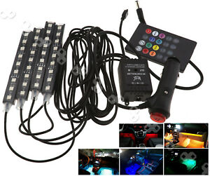 4pcs Multi Color Car Interior Led Atmosphere Light Ambient Lighting Dc 12v