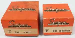 Simpson Volt Panel Meter Lot Model 59 0 300 Ac Model 27 0 100 Dc Millivolts