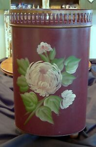 Vintage Plymouth Tole Hand Painted Waste Basket Trash Can So Shabby