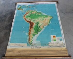 Vintage Pull Down School Map Canvas Backed Sud South America