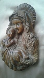 Vintage Hand Carved Wooden Sculpture Wall Art