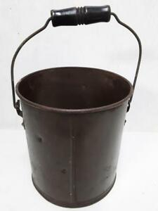 Vintage Primitive Steel Pail Can Bucket With Handle And Wood Grip