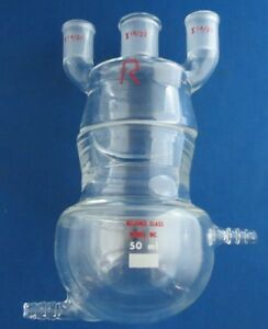 Reliance Glass 50ml Jacketed Round Bottom Batch Reactor With 3 Necked Head