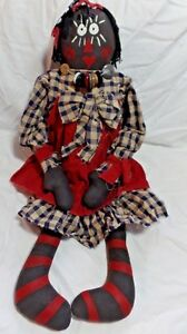 New 25 1 2 Primitive Country Folk Art Plush Raggedy Ann Doll Black