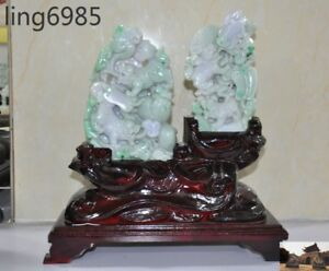 100 Natural Emerald Jade Jadeite Carved Ganoderma Fan Foo Dog Lion Beast Statue