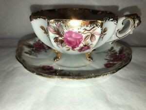 Tea Cup Footed Porcelain With Roses And Gold Trim Vintage Beautiful Rimmed
