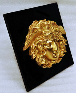 Neoclassical Medusa Gilt Plaque Figural Ormolu Winged Snake Relief Bust Mount