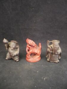 Three Small Chinese Carved Wood Figures Two Elders And Foo Dog