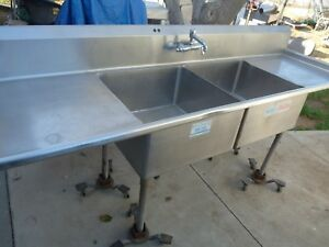 2 Compartment Stainless Commercial Sink 96 Nfs pick Up Only