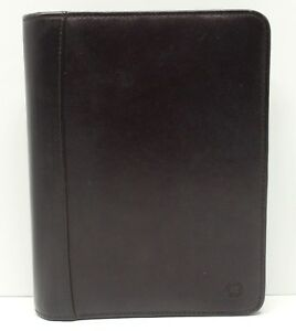 Franklin Covey Planner Binder Organizer Brown Leather 7 Ring Zip Around