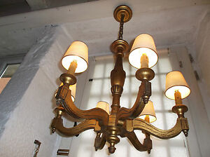 French Chandelier 6 Lights Ornate Wood Painted Gold Beautifully Detailed Antique