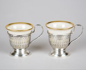Wallace Sterling Silver Reticulated Demitasse Cups With Lenox Liners Set Of 2