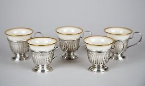 Mauser Sterling Silver Reticulated Demitasse Cups With Lenox Liners Set Of 5