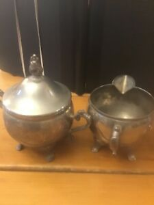 Vintage Sugar Bowl And Creamer Silver Plated