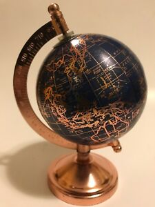 World Globe Copper Colored Metal Base 7 High Desk Top Awesome