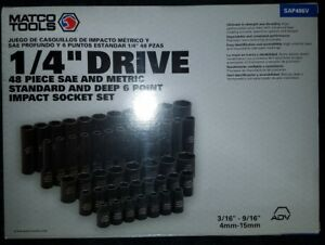 Matco Tools 1 4 dr 48pc Sae Metric Short And Deep 6 Pt Impact Socket Set
