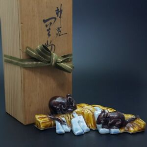 Japanese Antique Kutani Isokichi Mouse Shimenawa Statue W Box From Japan