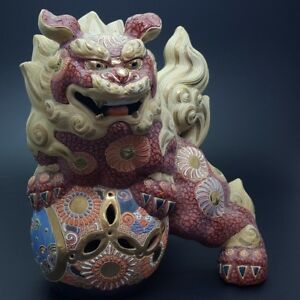 Japanese Antique Kutani Foodog Lion Statue 35cm From Japan