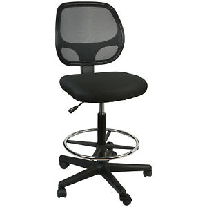 Office Chair Mesh Task Chair Comfort Adjustable Tall Drafting Stool Swive W foot