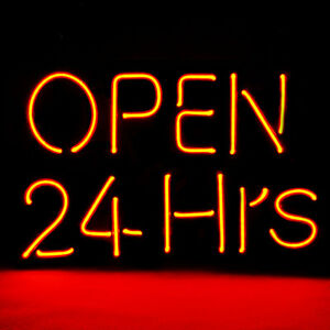 12 x 9 8 New Neon Sign Open 24 Hours For Windows Shop Store Hotel Beer 7 Colors