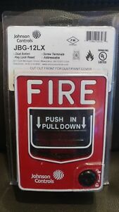 New Johnson Controls Jbg 12lx Manual Pull Down Fire Alarm Station Addressable