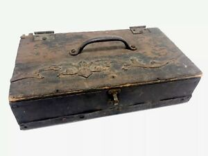 Antique Folk Art Primitive Cash Box Decorated Document Box School Desk Vintage