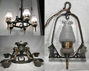 3 Vtg 1930s Virden Tudor Chandeliers Hammered Arts Crafts Light Fixtures Gothic