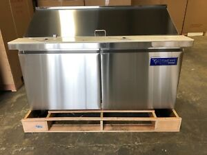 New Coolfront 60 2 Two Door Mega Top Refrigerated Sandwich Prep Table New