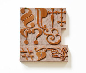 Letterpress Typographic Characters Wood Type 8 10 Line 33 8 42 2mm 10 Pieces