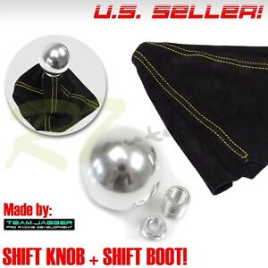 Fit Kdm Car M10 Metal Chrome Round Ball Gear Shift Knob Lever Yellow Stitch Boot