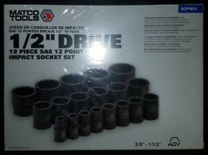 Matco Tools 1 2 dr 19 Pc Sae 12pt Impact Socket Set scp192v