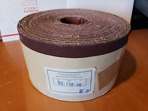 Carborundum 6 Wide 50 Yd 60 Grit Metal Cloth Shop Roll Sandpaper New Waterproof