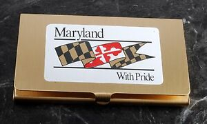 Rare maryland With Pride Gold Tone Business credit Card Holder Case Nos