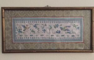 Antique Chinese Silk Forbidden Stitch Embroidery Wall Frame Birds Blue Flowers