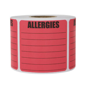 Allergies Sticker Labels Write on Surface Warning Large Square 2 X 2 Pink