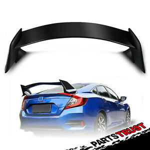 For 2016 2018 Honda Civic 4dr Sedan Black Paintable Rear Trunk Spoiler Wing Lid