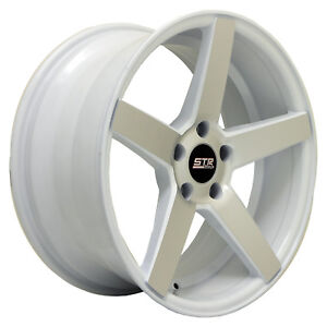 18x8 5 Str 607 White Machine Face 5x100 Made For Subaru Frs Corolla