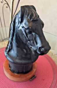 Antique Horse Head Post Figurine With Removable Lamp Base