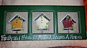20 Primitive Country Bird House Flower Hand Painted Picture Screen Art Wall